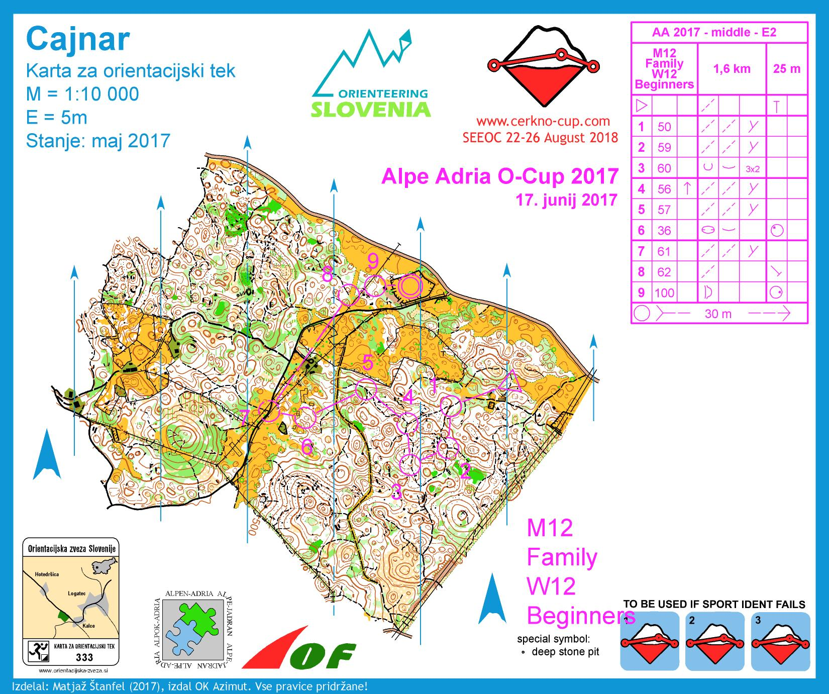 Alpe Adria Orienteering Cup - M12, W12 - middle distance (17. 06. 2017)