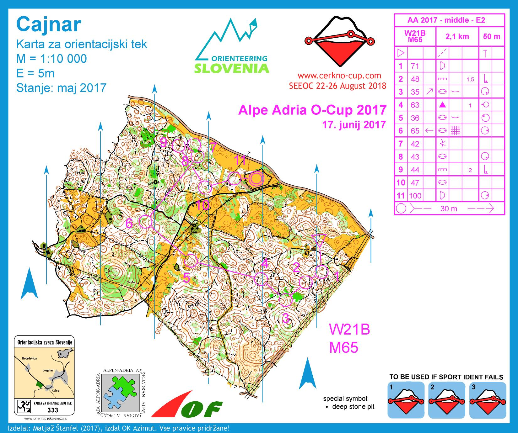 Alpe Adria Orienteering Cup - W21B, M65 - middle distance (17-06-2017)