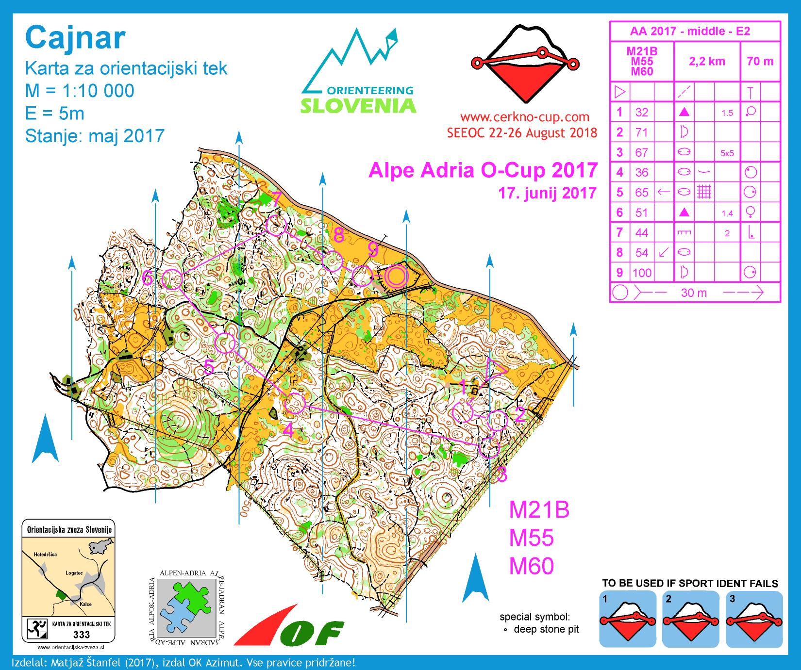 Alpe Adria Orienteering Cup - M21B, M55, M60 - middle distance (17. 06. 2017)