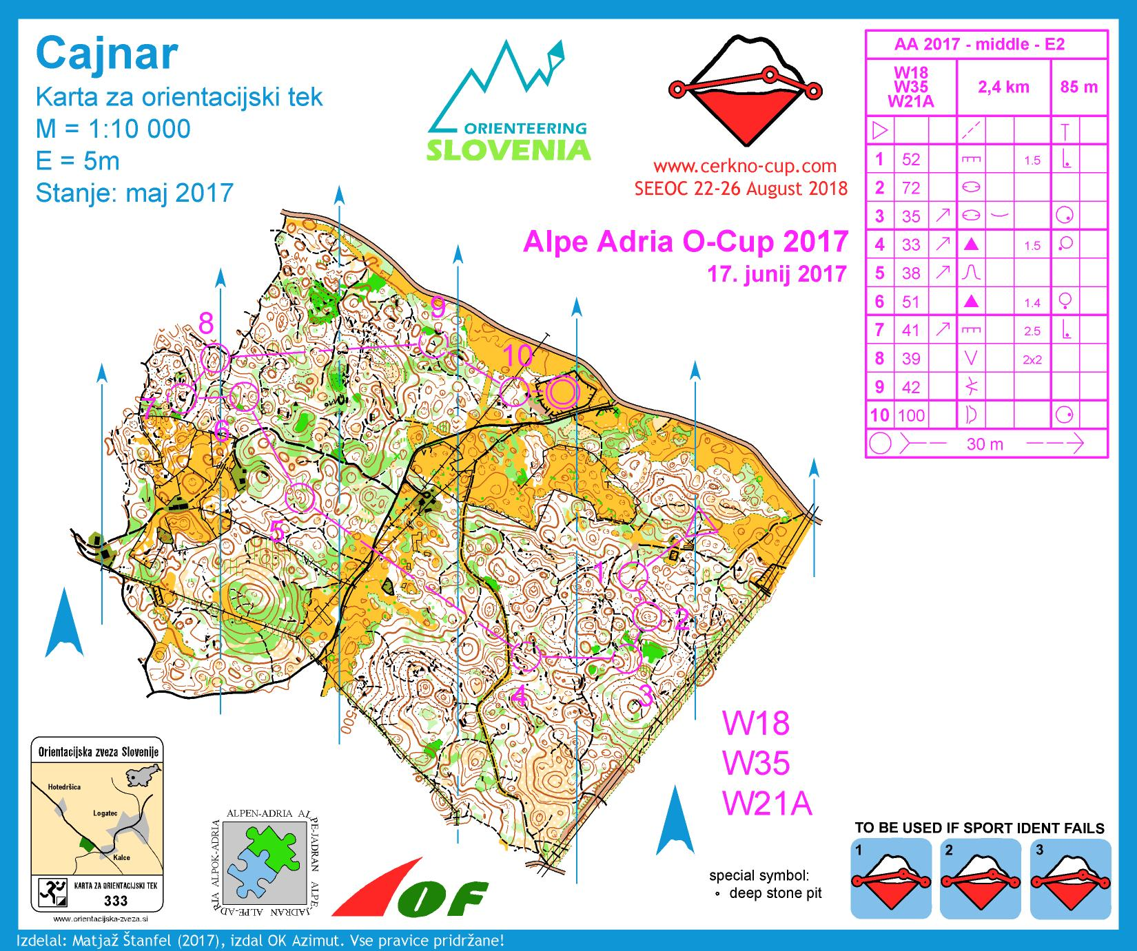 Alpe Adria Orienteering Cup - W18, W35, W21A - middle distance (17. 06. 2017)