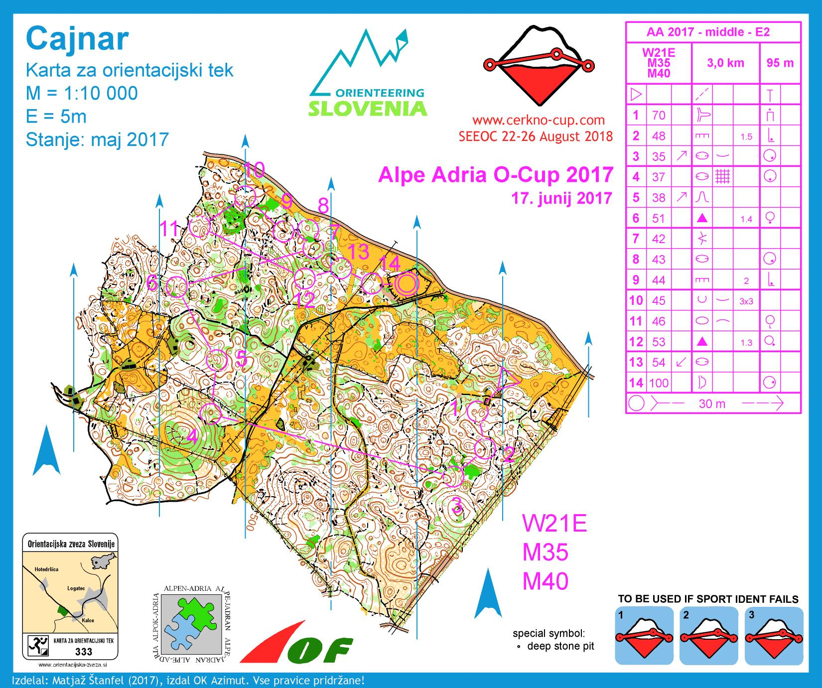 Alpe Adria Orienteering Cup - W21E, M35, M40 - middle distance (17. 06. 2017)